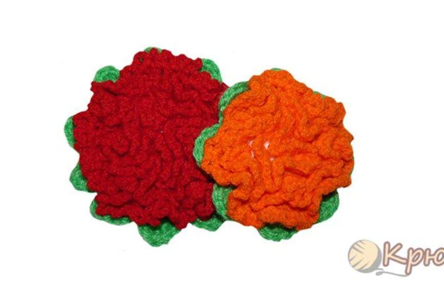 Объемный цветок на плоской основе крючком