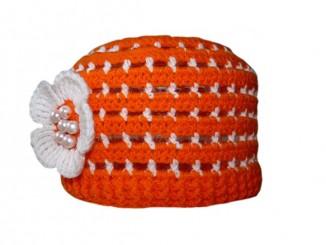 Оранжевая детская летняя шапочка крючком