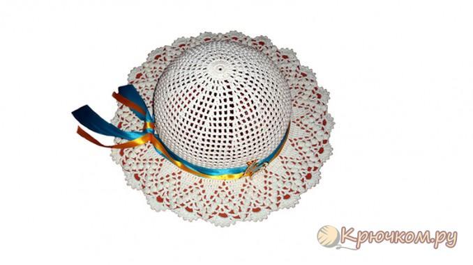 Шляпа с ажурными полями крючком