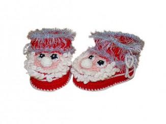 пинетки Дед Мороз крючком