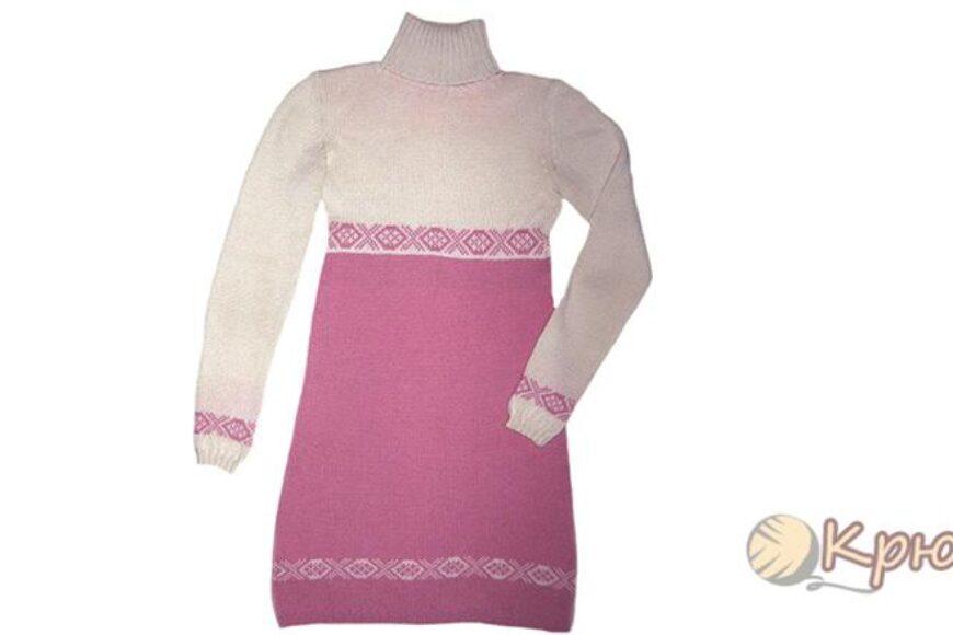 Двухцветное платье с орнаментом спицами