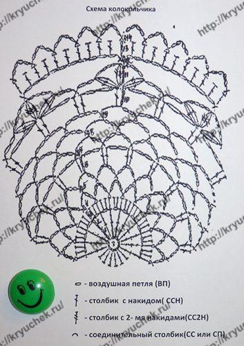Большой ажурный колокольчик крючком схема