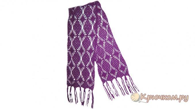 Вяжем осенний ажурный шарф крючком