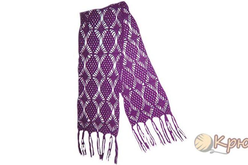 Женский ажурный шарф крючком