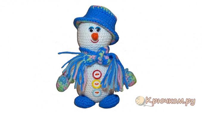 Вязание крючком игрушки Снеговик