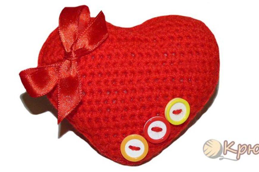 Объемная валентинка-сердечко крючком
