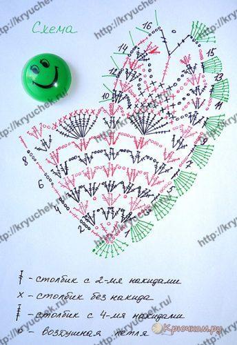 Схема ажурного сердечка крючком