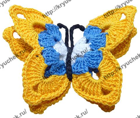 Желтая бабочка крючком (видео урок)