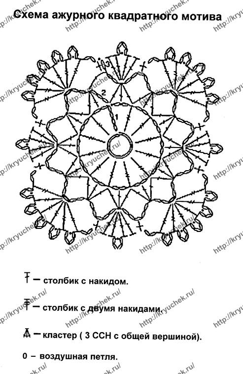 Квадратный ажурный мотив крючком схема