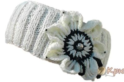 Вязаная повязка на голову «Весна»