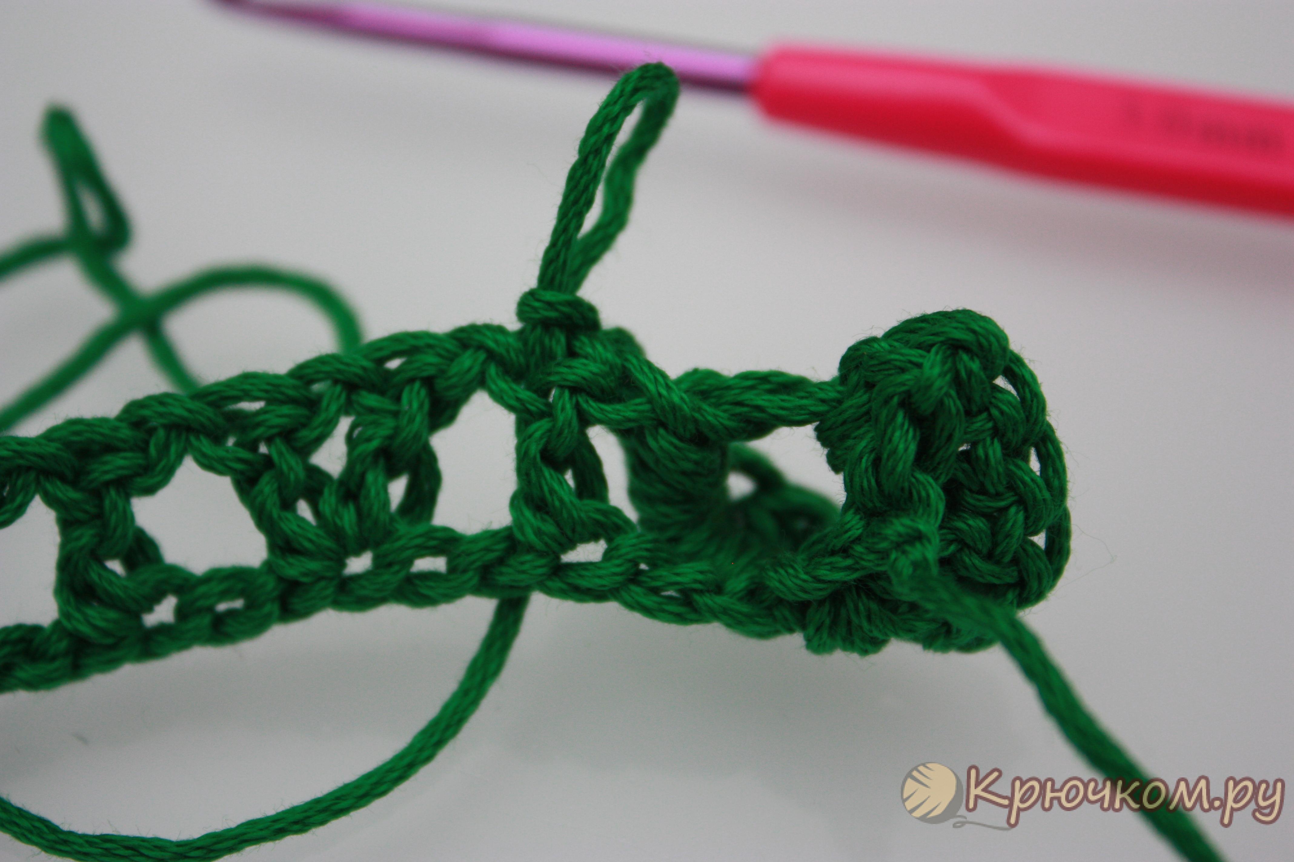 схема вязания узора чешуя