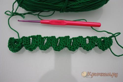 Вязание крючком узора Чешуя