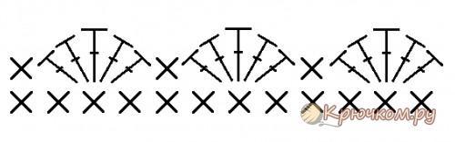 Схема вязания гребешков на пинетках-сапожках