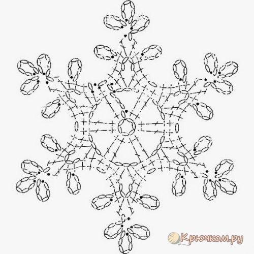 Схема маленькой снежинки крючком