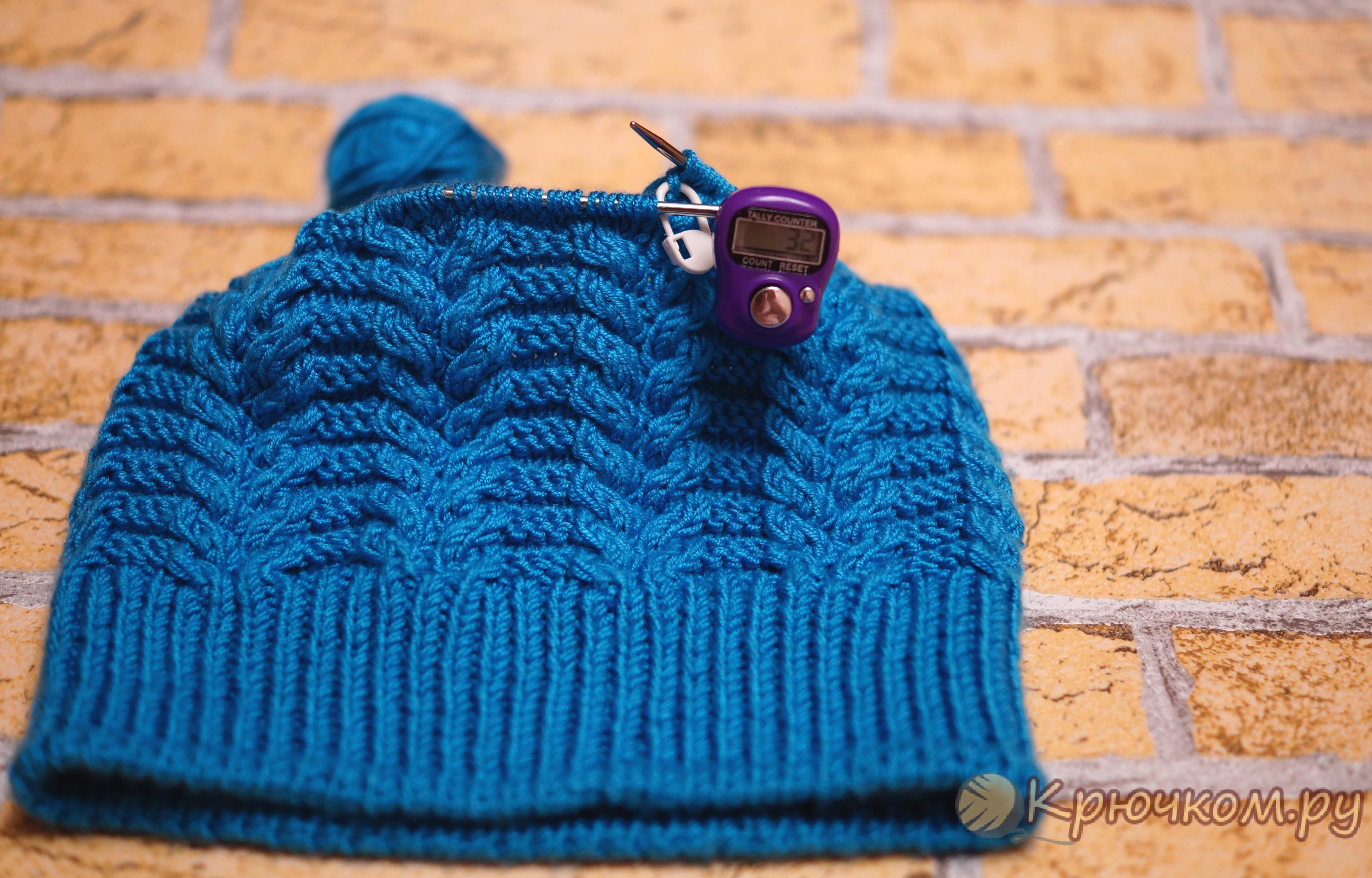 схема вязания спицами с жгутом шапки