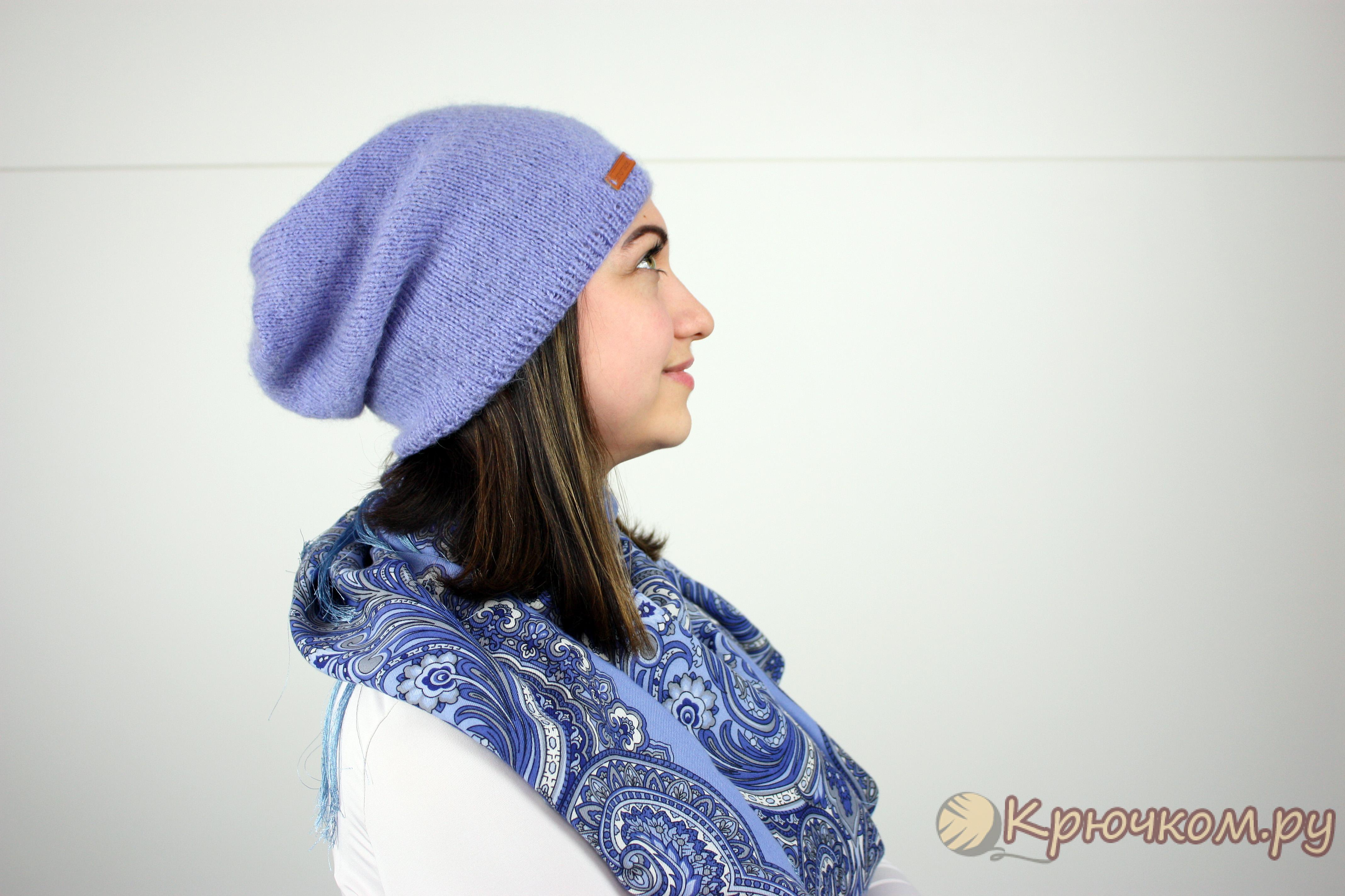 шапка бини лицевой гладью фото и видео мастер класс