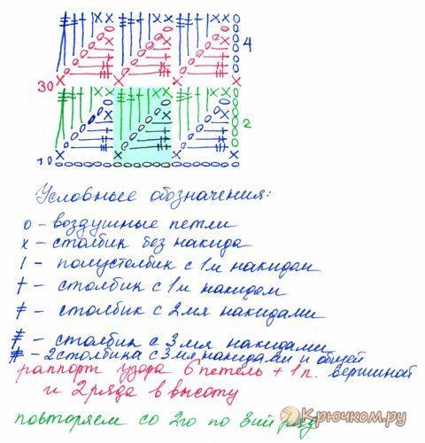 Узор из треугольников крючком схема