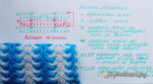 Схема двухцветного узора спицами