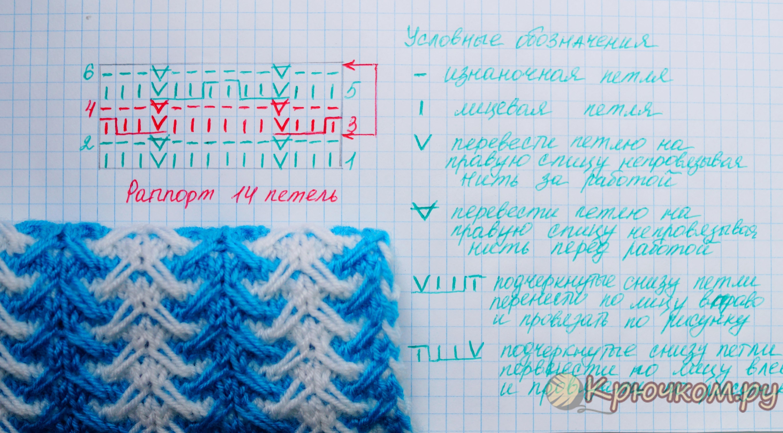 двухцветный узор спицами фото и видео мк