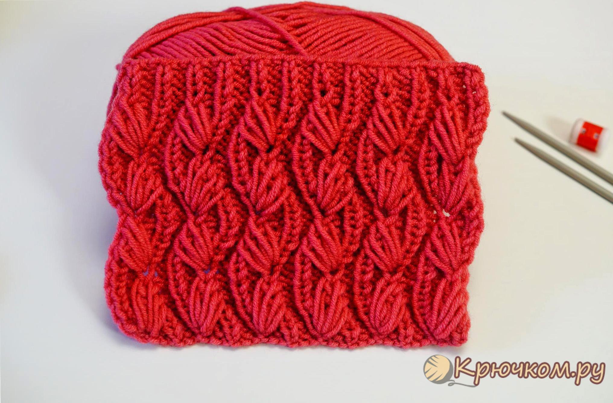 вязание шарфа вытянутыми петлями