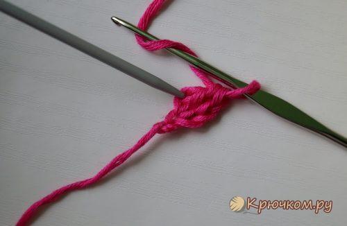 Эластичный набор петель крючком из столбиков с накидом