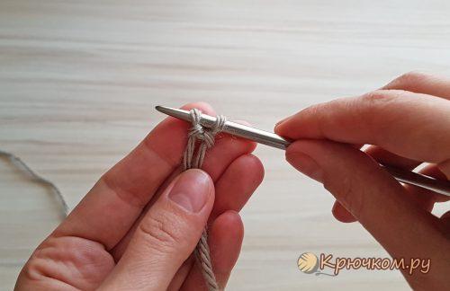 Эластичный набор петель спицами для резинки