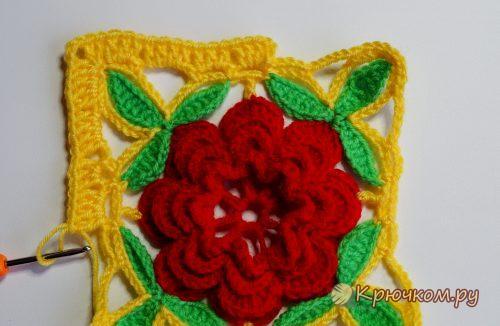 Прихватка с цветком крючком
