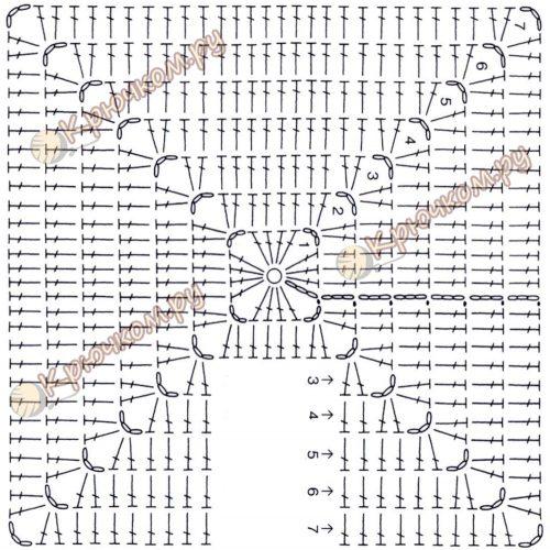Прихватка с цветком крючком схема квадратного мотива