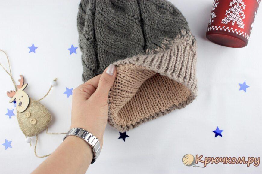 Вязаный подклад для шапки спицами