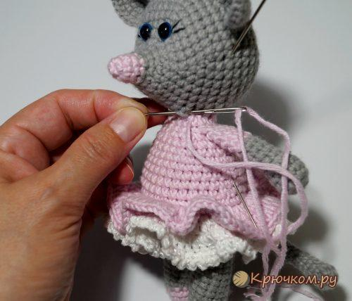Мышка балерина Настенька крючком