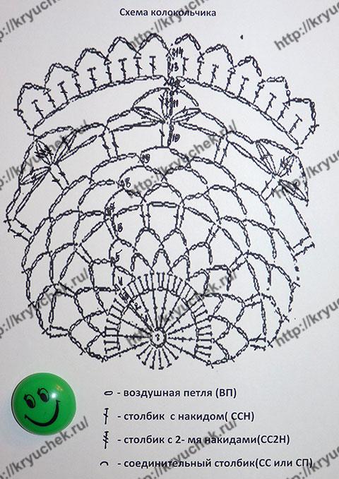 Схема вязанию крючком новогоднего ажурного колокольчика