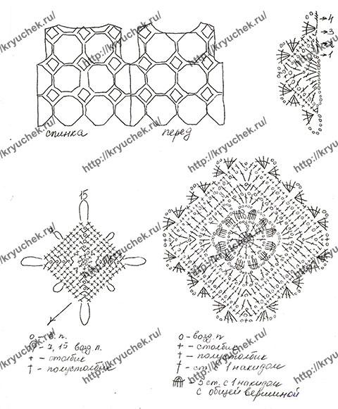 Схема вязания мотивов и выкройка для топа