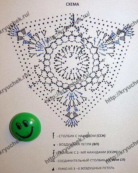 Схема вязанию крючком рождественского воздушного колокольчика