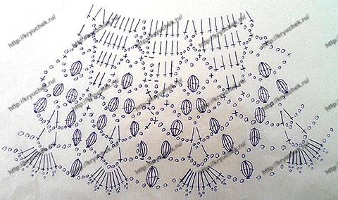 Схема вязания ажурных полей для женской шляпы