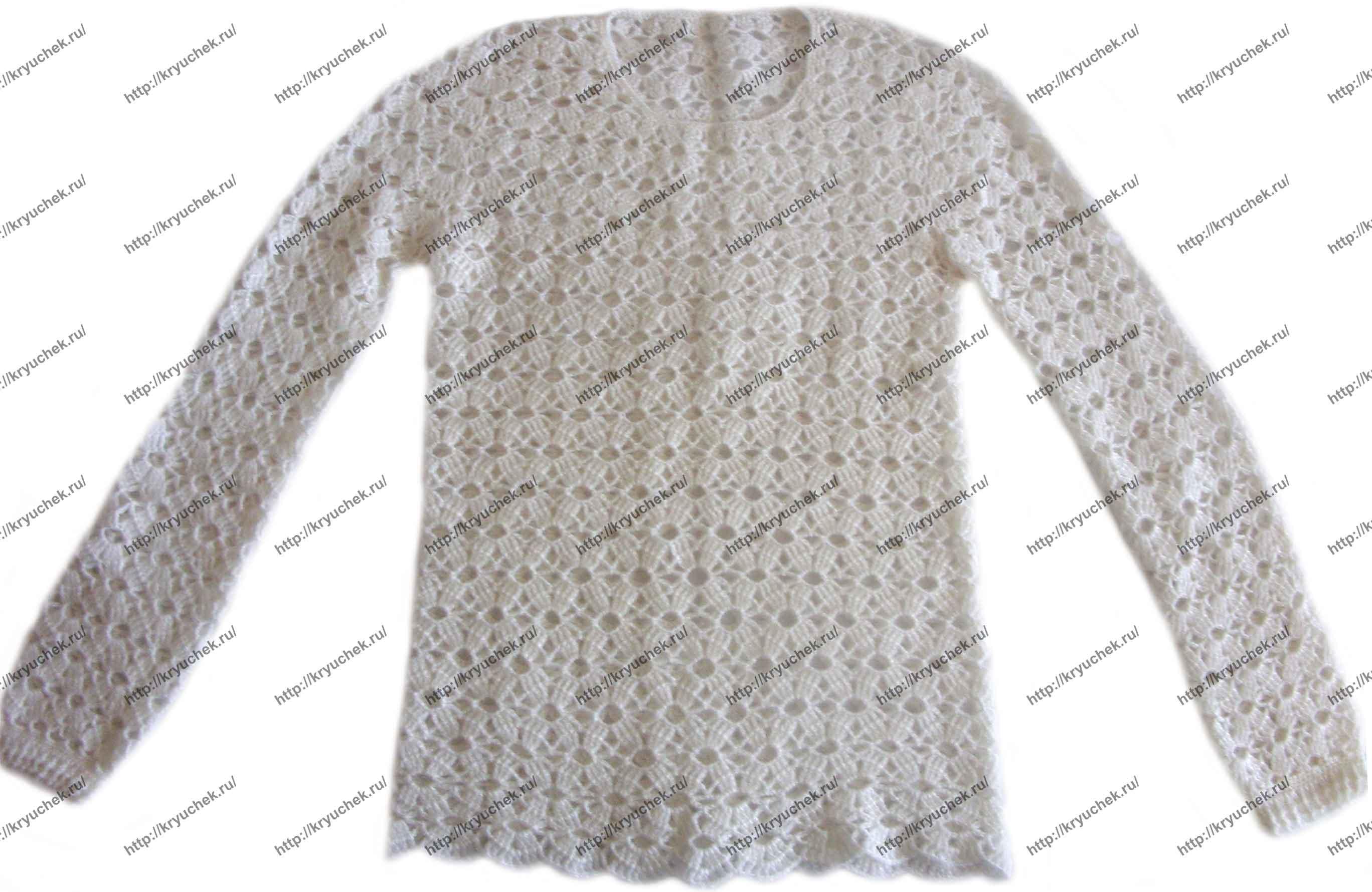 Пример связанной крючком женской женской белой кофты