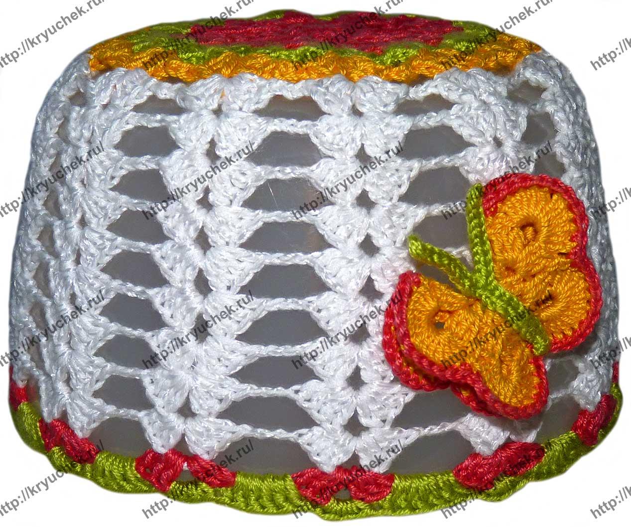 Пример связанной крючком летней шапочки для девочки