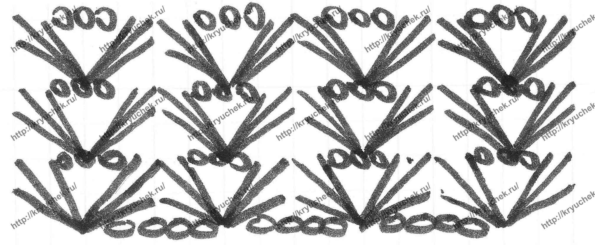 Схема вязания крючком основного узора для шорт