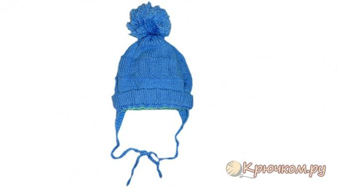 Зимняя детская шапка с бубончиком и завязками, связанная спицами