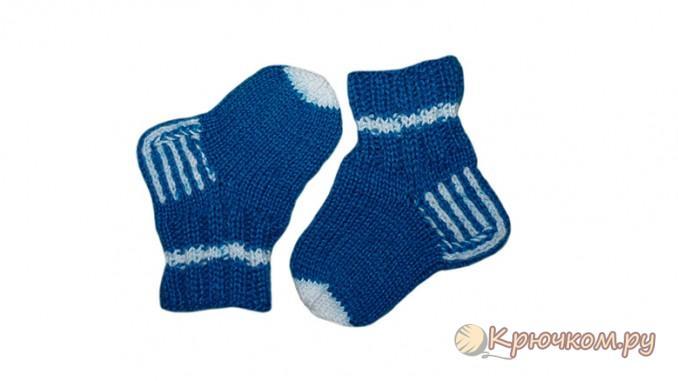 Зимние носочки для малышей спицами