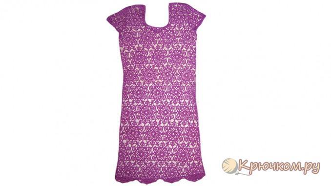Кружевное платье цвета фуксии крючком