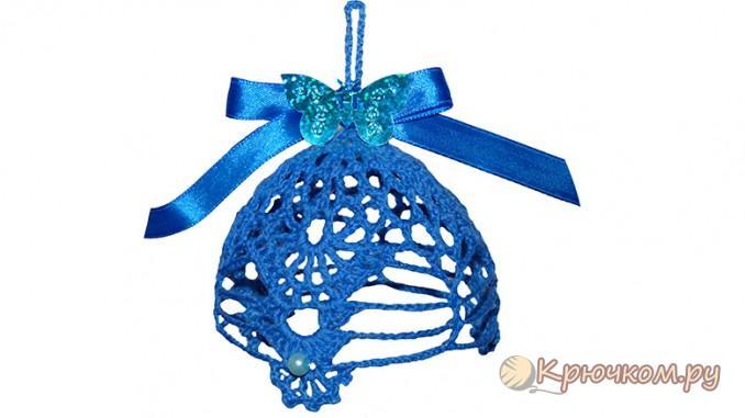 Вязание крючком новогоднего воздушного колокольчика