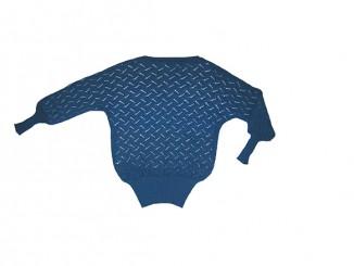 Синий ажурный джемпер с рукавом летучая мышь