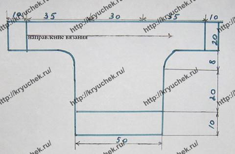 Схема вязания джемпера с рукавом летучая мышь