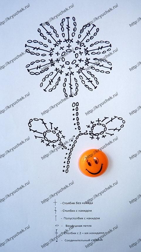 Схема вязания цветка цикория