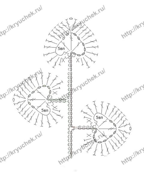Схема вязания листика к цветку