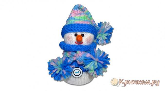 Игрушка Снеговик спицами