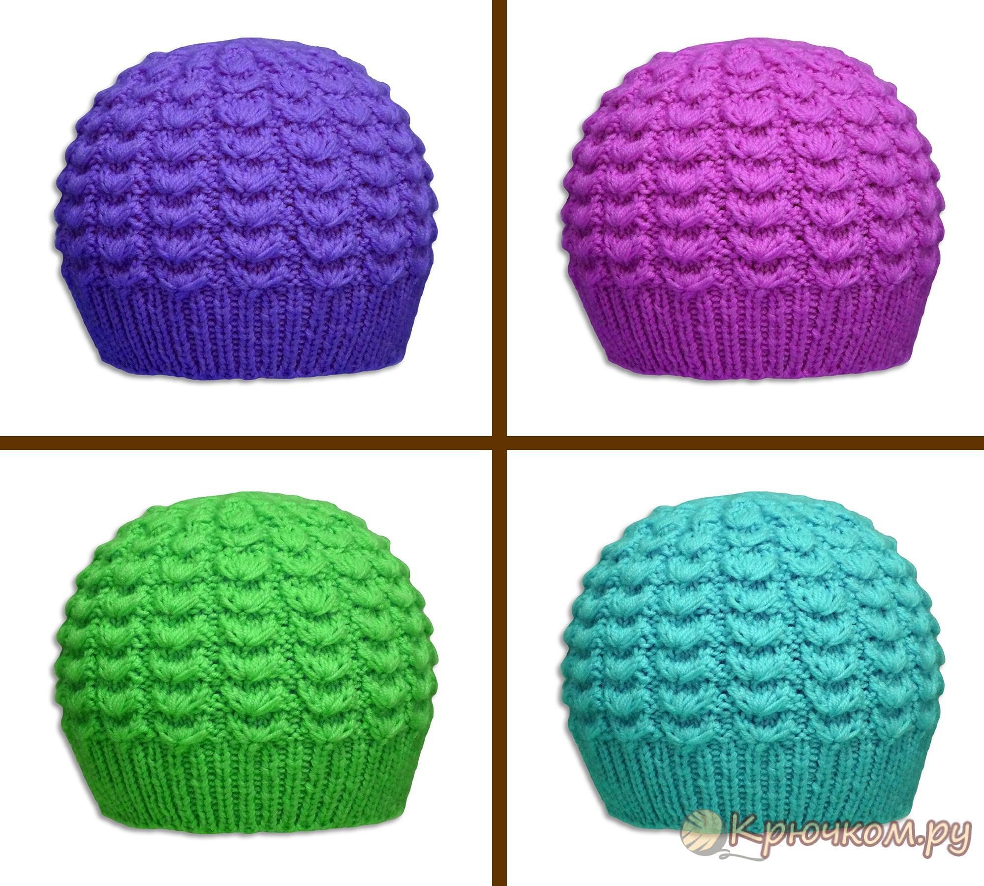 Вязание детских шапок спицами схемы современные модели ...