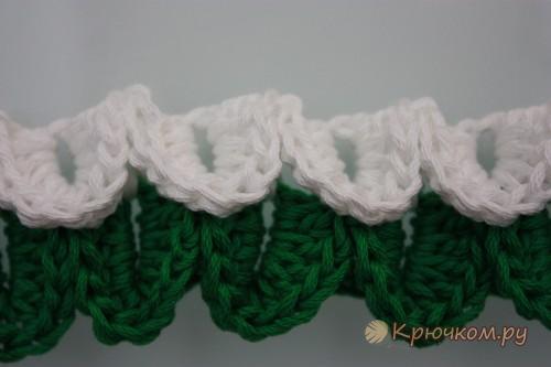 Вязание крючком узора «Чешуя»