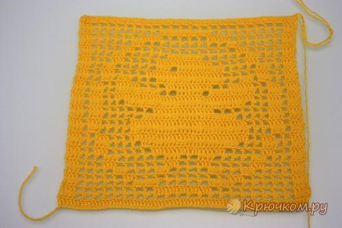 Пасхальная салфетка в технике филейное вязание