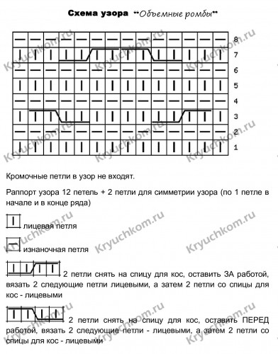 схема объемные ромбы спицами